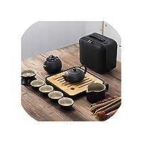 日本の黒い陶器の茶は12、カップの4つのカップのポータブルスーツトラベルティーセット13点セットワンポットを設定します