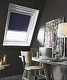 MADECOSTORE - Estor de Techo Enrollable Compatible Velux® – Azul Oscuro – 61 x 74 cm – Modelo M04 – Marco de Aluminio
