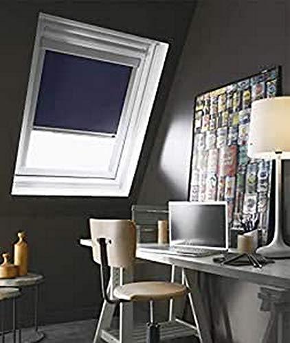 Madecostore Store de Toit Enrouleur Compatible Velux - Bleu Foncé - L38 x H54/74cm Modèle C02/c04 - Cadre Alu