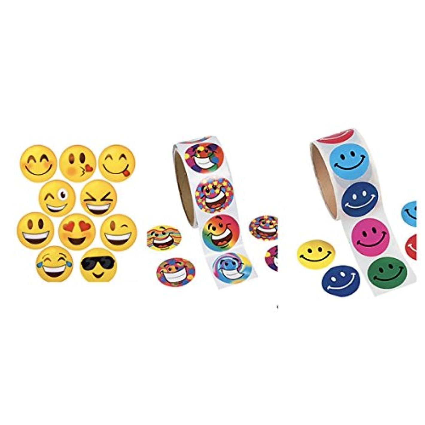 300 Assorted SMILEY FACE Stickers (3 Rolls of 100 Each) SCRAPBOOKING - ARTS & CRAFTS - CLASSROOM Teacher ACTIVITIES