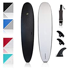 """The Heritage longboard is 104"""" x 23"""" x 3"""" with 86L of volume and supports riders up to 260 lb The double concave bottom deck helps to efficiently channel the water to the board's fins and the entry level rocker helps prevent pearling Each board inclu..."""