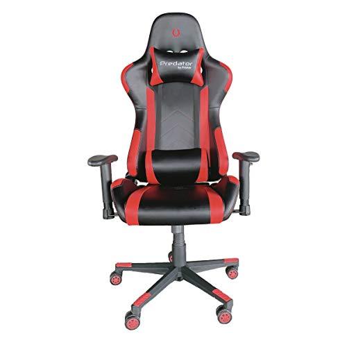 PRIXTON Predator Gaming Chair 10R - Silla Gaming/Silla Gamer con Altura y Reposabrazos Ajustables, Reclinable 180º, Fabricado en Metal y Espuma de Alta consistencia, Cojín Cervical Incluido, Rojo