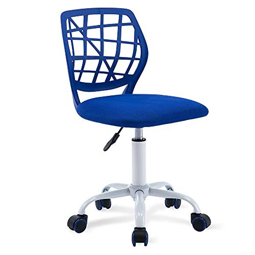 HOMEFUN Kids Desk Chair Cute Computer Office Bedroom Mesh Chair Ergonomic Swivel Armless Study Chair with Adjustable Height for Boys Girls Teens, Blue