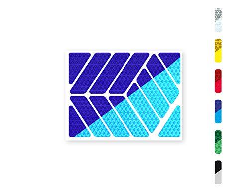 Streifen (quer oder gerade) Reflektor-Aufkleber - 6 Farben zur Auswahl – zwei Reflexions-Stärken (Classic Light und Pro) – für Kinderwagen, Fahrräder, Roller, Helme, Rollator (quer/Classic Pro, blau)