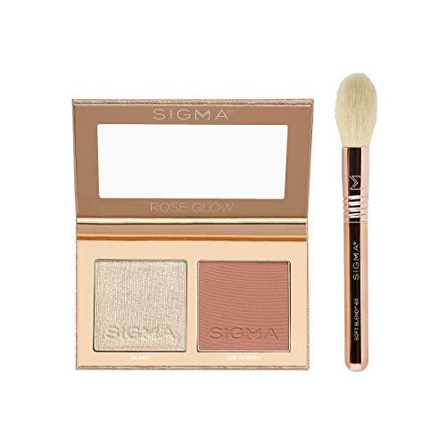 Sigma Beauty Rose Glow Cheek Duo, 2 Colors, 1 Travel Mini Face Brush
