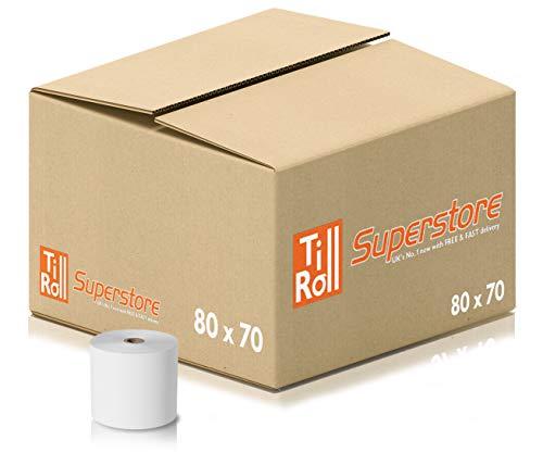 Rollos térmicos de 80 x 70 mm para tarjetas de crédito PDQ (20 rollos) Pack of 1 - 20 Rolls