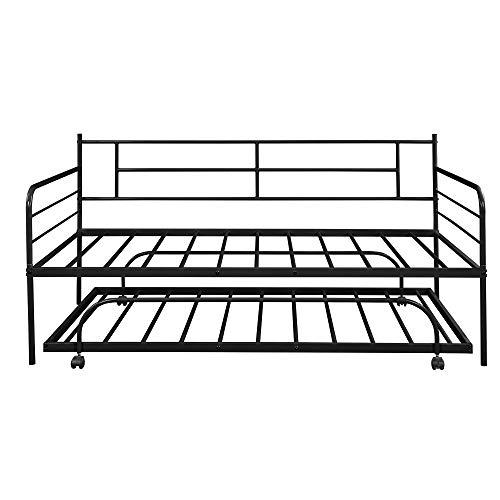 Lijie – Sofá cama de metal con sillón, tamaño doble, cama individual