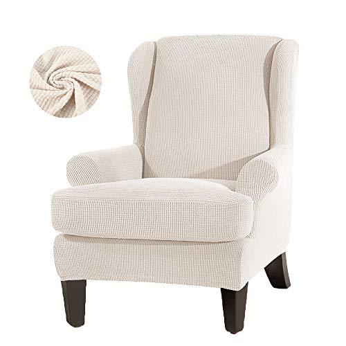JTWEB Ohrensessel Bezug Ohrensessel Schonbezug Jacquard Elastische Sesselbezug Sessel-Überwürfe Sesselhusse Elastisch Stretch Husse für Ohrensessel (Weiß)