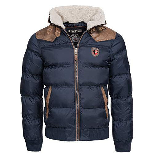 Geographical Norway Herren Winterjacke Abraham – Mantel mit Fell Kragen – Gefütterter Warmer Anorak Stepp – Bomber Outdoorjacke...