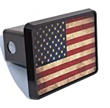 Rogue River Tactical USA American Flag Trailer Hitch Cover Plug US Patriotic Vintage Rustic Flag