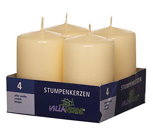 Smart-Planet® Kaarsen Ambiente - 4-pack stompkaarsen decoratieve kaars kleur champagne crème 8 cm hoog Ø 4,8 cm waskaars in set