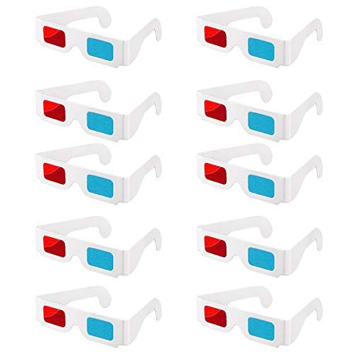 Gafas estéreo 3D de película, 10 pares de lentes estéreo de papel rojo y azul para la decoración de la película