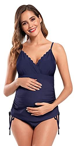 SHEKINI Dames schouderbandjes zwangerschapstankini set triangel golvend bovendeel met holle bandjes zwart broek decolleté gevoerde tweedelige zwangerschapsbikini