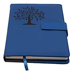 Blue journal with tree on it.