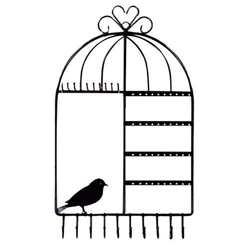 WGGTX Cajas y organizadores de Joya Birdcage Forma 20 Hook Jewelry Stand Pendientes Pendientes Collar Organizador Pulsera Pantalla Pantalla (Color : Black)