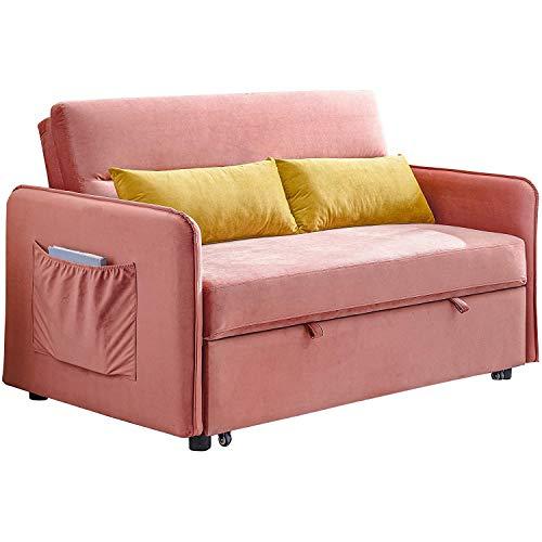 ZHANGTAOLF Schlafcouch, kleines Samtsofa für Wohnzimmer oder Schlafzimmer, einschließlich Ausziehbett und 2 lumbalische Kissen, Schlafsofa, kompakt,Rosa