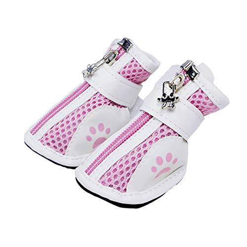 CUIZC Zapatos para perros Teddy Bichon Cachorro Big Dog Transpirable Malla Perros Zapatos para Perros Goma Suave Zapatos para Mascotas 4