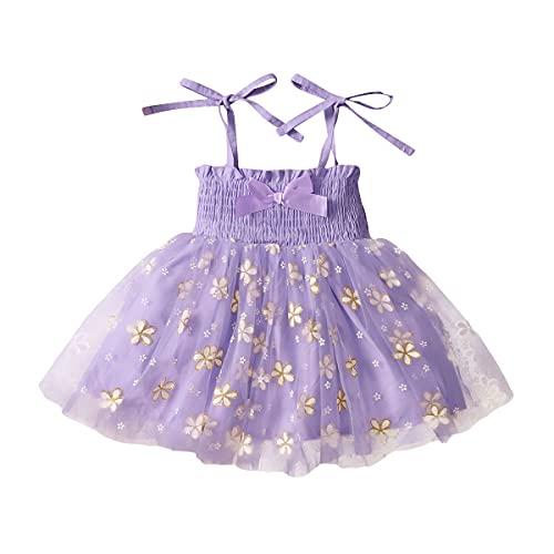 YQYJA Vestido de niña recién nacido sin mangas de la margarita de la impresión del vestido del bowknot Tulle Tutú del vestido de verano