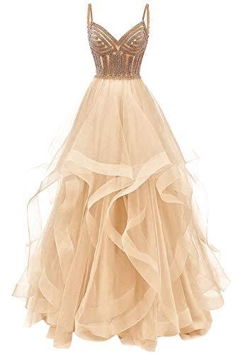 HUINI Ballkleid Lang Elegant Abendkleid Promkleid Tüll Hochzeitskleider Standesamt Cocktail Partykleider Champagne 40