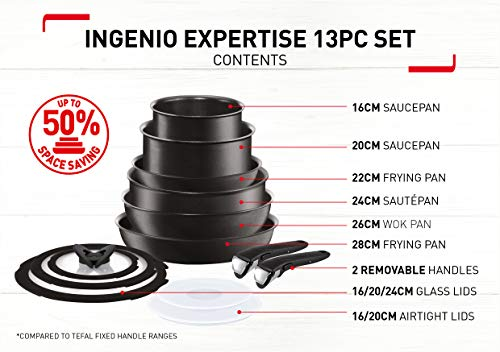 Tefal (T-Fal) Ingenio 13 Piece Induction Pan Set with Detachable Handles