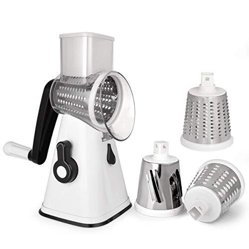 NILICAN Rallador de patatas manual rotativo para cocina, con 3 cuchillas intercambiables, fácil de usar (blanco)