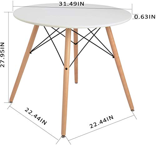 Coavas Kitchen Dining Table White Round Coffee Table Modern Leisure Wooden Tea Table Office Conference Pedestal Desk
