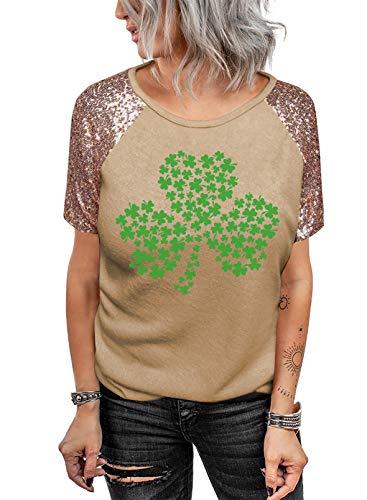 FOBEXISS Damski bezrękawnik letni T-shirt na co dzień koniczyny koszulka z krótkim rękawem z cekinami koszulka na Dzień Świętego Patryka