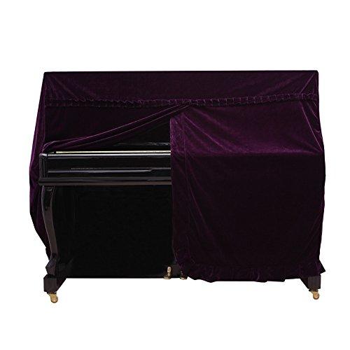 Dilwe Klavierdeckel, Colorfast Pleuche Piano Staubdicht Dekoriert Cover(Purpur)