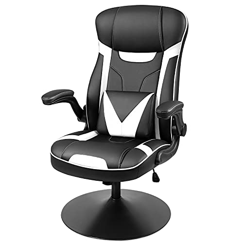 Homall Rocking Gaming Chair Racing Computer Game Chair Swivel High Back Office Game Chair with Adjustable Armrest Ergonomic Back Support and Pedestal Base PC Chair for Adult (White)