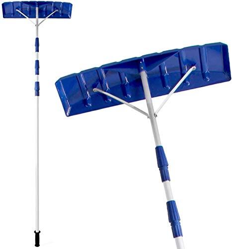 SqSYqz Rastrillo telescópico Ajustable para Nieve de 21 pies, rastrillo para Nieve Twist-N-Lock para Techo con Hoja de Polietileno de 6'x 25', Pala quitanieve para Limpiar la Nieve del Techo