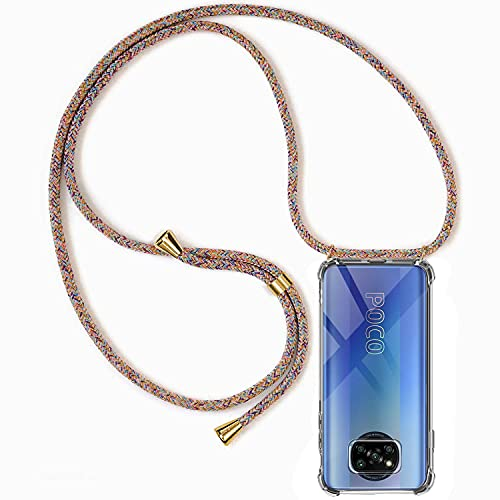 Hüllecool Handykette Hülle kompatibel mit Xiaomi Poco X3 Pro/Xiaomi Poco X3 NFC, Handyhülle Handy Necklace Hülle mit Band Schutzhülle Kordel zum Umhängen Transparent Weich TPU Silikon Tasche, Rainbow