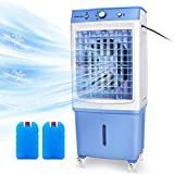 DUOLANG Portable Evaporative Cooler Energy-Saving for Indoor and Outdoor, Quiet Electric Air Cooler,w/Filter, 4 Wheels, 2647 CFM,Cools 538 Square Feet-12 Gallon Water Tank,White/Blue
