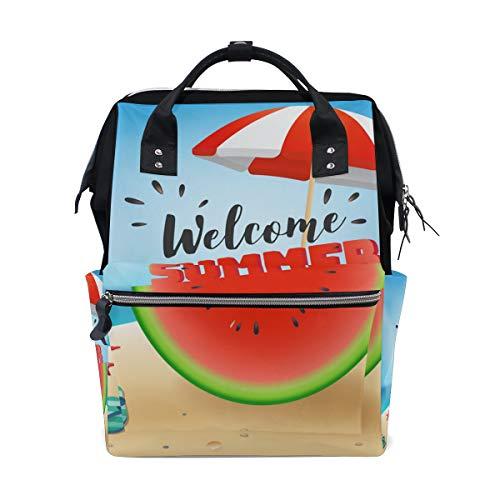 Hello Summer Beach Pastèque Sac à dos à langer pour maman femme Sac à langer multifonction Grand sac à dos de voyage école école extérieur