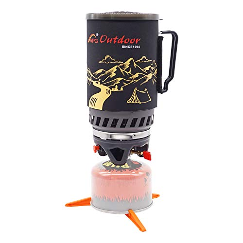 APG 1.4-Liter Camping Stove Cooking System Propane Butane Burner Outdoor Hiking Backpacking Camp Gas Stove Fast Boil Fuel Efficient Flash Cooking