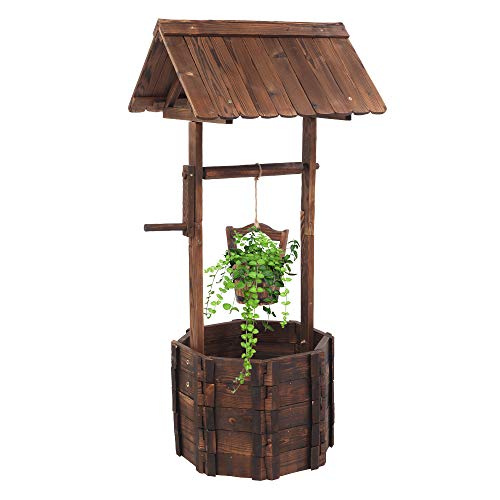 Wooden Garden Planter, Wishing Well Flower Planter for Outdoor, Planter Box with Hanging Bucket, Planters and Pots, Home Decor for Patio, Garden and Yard, Ornamental Plant Pot with Housetop