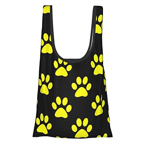 Bolsas de comestibles reutilizables plegables bolsas de compras Eco amistosas bolsas de tela resistentes al agua ligeras fuertes y de una pulgada de color amarillo huellas de la pata en negro