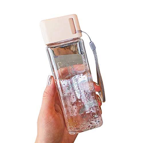 Ordertown Botella de agua a la moda, para viajes al aire libre, 300 ml, de plástico transparente, cuadrada, a prueba de fugas, para viajes