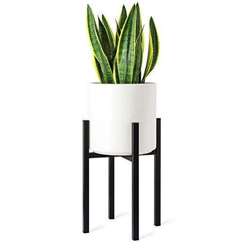 Mkono Plant Stand - EXCLUDING Plant Pot, Mid Century Modern Tall Metal Pot Stand Indoor Flower Potted Plant Holder Plants Display Rack, Fits Up to 10 Inch Planter, Black