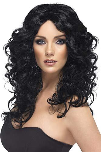 Smiffys Perruque glamour, noire, cheveux longs, bouclés