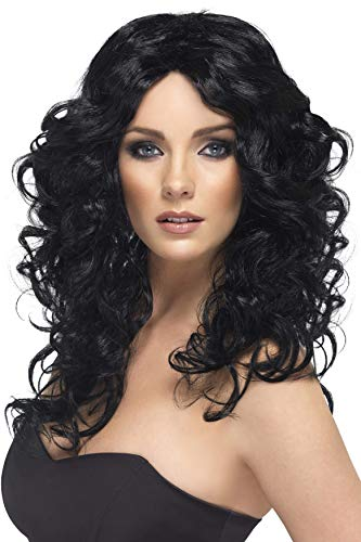 Smiffys womens Glamour Costume Wig, Black, One Size US