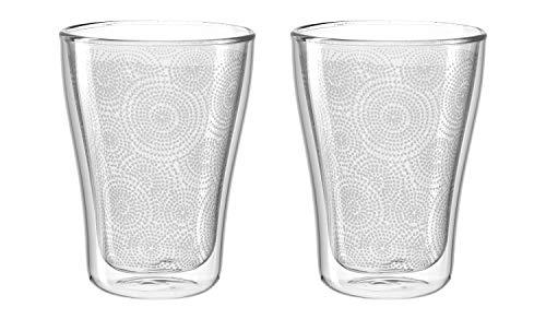 Leonardo Duo Dekor Becher, 2-er Set, 345 ml, hitzebeständig, handgefertigtes Glas mit Dekor, 029763