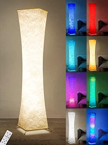 Anten RGB LED Stehlampe Wohnzimmer Dimmbar, 15W Tyvek Stehleuchte Standlampe Wohnzimmer 1.56m Lichtsäule 10 Helligkeiten Floor Lampe mit Fernbedienung, 7 Farben Ecklampe, 3 Farbtemperatur Standleuchte