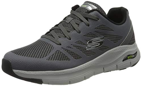 Skechers Herren Arch Fit Charge Back Sneaker, Grau (Charcoal Textile/Synthetic/Black Trim Ccbk), 41 EU