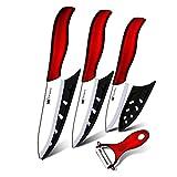 Sushi Cocina de cerámica Cuchillo de cocina de 3 pulgadas Pelación de 4 pulgadas Utilidad de 4 pulgadas Cuchillo de corte de 5 pulgadas Blanco + Peeler rojo Cuchillos de cocina Set Herramientas cocina