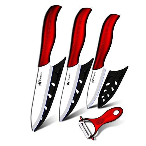Cuchillos Cocina de cerámica Cuchillo de cocina de 3 pulgadas Pelación de 4 pulgadas Utilidad de 4 pulgadas Cuchillo de corte de 5 pulgadas Blanco + Peeler rojo Cuchillos de cocina Set Herramientas co