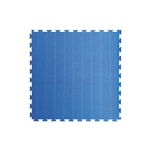 Toorx - Tatami ad incastro 100x100x4 cm. con 2 bordi rosso-blu superficie goffrata antiscivolo, anallergico