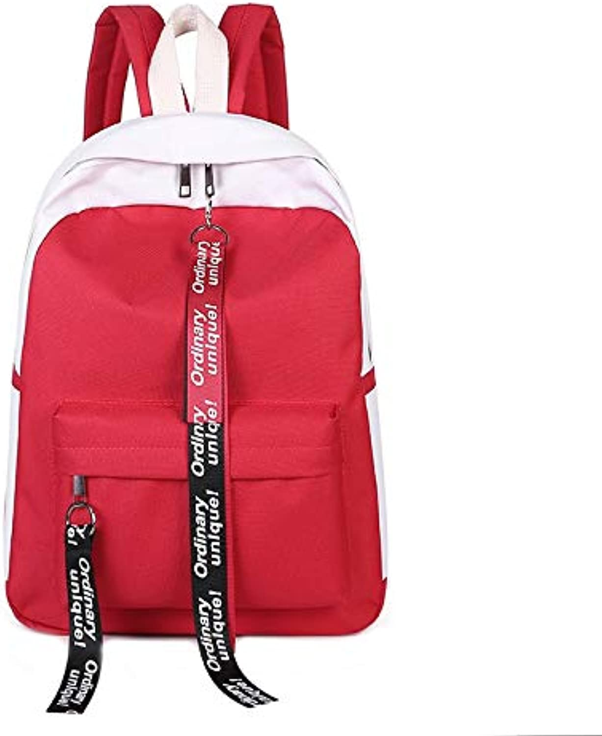 TONGSH Unisex Korean Version of The Bag Trend Fashion Student School Bag Personality Wild Casual Daypack Double Shoulder Backpack Waterproof Travel Rucksack (color   RED)