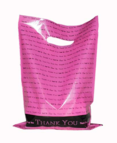 "Merchandise Bags: ACME Bag Bros 50 Large, Extra Thick hot Pink Glossy Retail""Thank You"" Merchandise Bags with Handles 12"" x 15"""