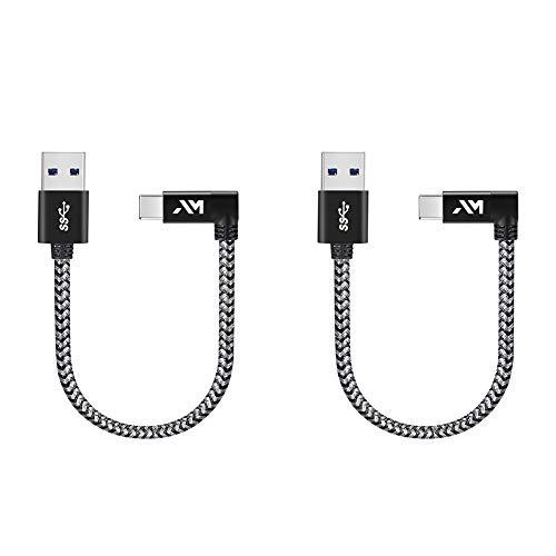 Amazer Tec Typ c Kabel auf USB Datenkabel 90 Grad Winkel Stecker Nylon USB Typ c Datenkabel für Samsung Galaxy S9/ S8 /Note 8, Huawei P10 P20 Plus, Mavic Pro Drone - Space Grau 0.25M*2