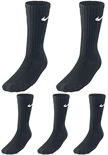 Nike - Juego de 5 pares de calcetines de tenis para hombre y mujer Negro 34/38 EU